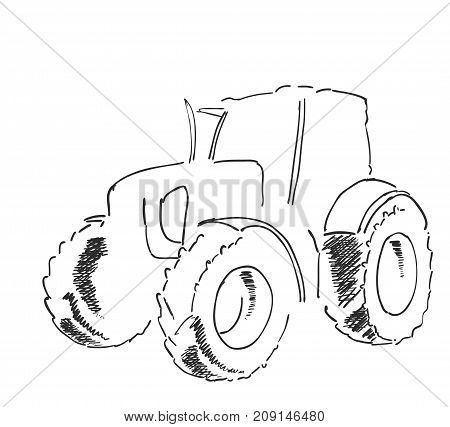 Village land agrimotor utility model. Freehand linear ink hand drawn icon picture sketchy in art doodle style.