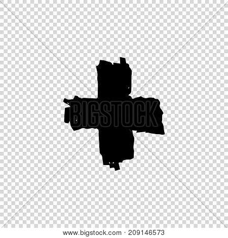 Grunge cross. Dirty Artistic Design Element. Vector illustration.
