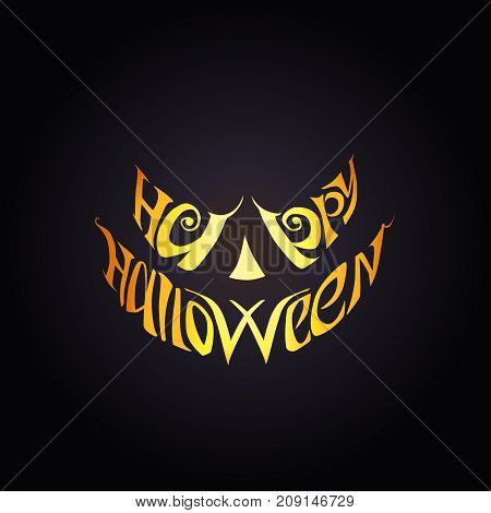 Happy Halloween, vector lettering. Halloween silhouette mask on black background.