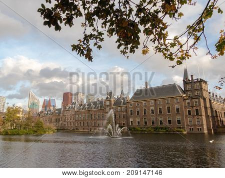 The Hague the Netherlands - 12 October 2017: Historic Binnenhof and buildings of The Hague in background