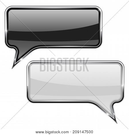 Black and white speech bubble. Rectangular 3d icon with chrome frame. Vector illustration isolated on white background