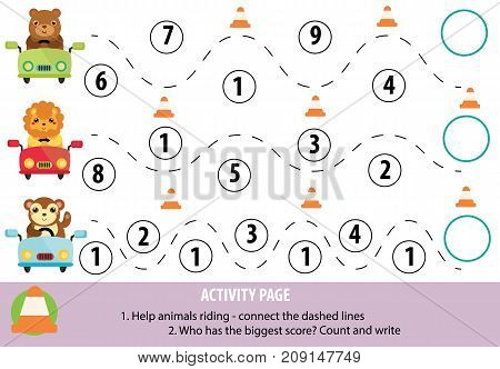 Activity page for children. Handwriting practice and mathematics. Educational game, printable worksheet for kids. Learning writing and counting skills