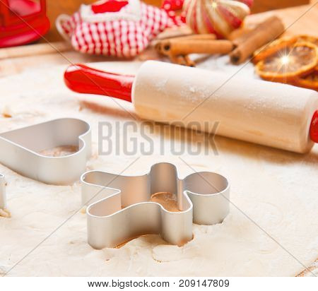 some  cookies dough homemade for Christmas with cinnamon