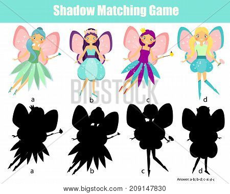 Shadow matching game for children. Find the right shadow. Activity for preschool kids with beautiful fairy character