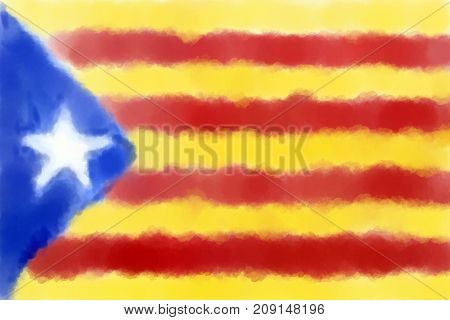 abstract painted background illustration - flag catalonia