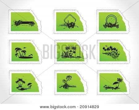 vector illustration post stamps, set