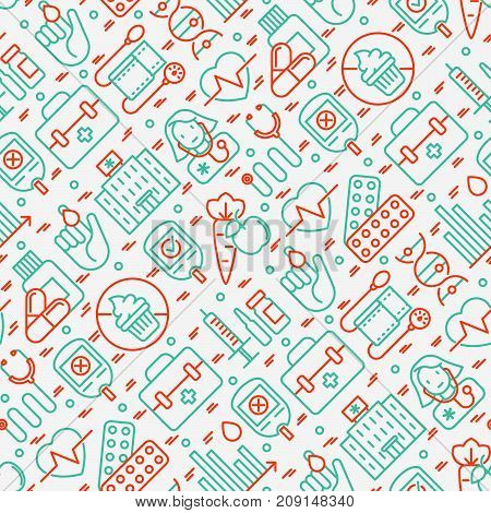 Diabetes seamless pattern with thin line icons of symptoms and prevention care. Vector illustration for background of medical survey or report, for banner, web page, print media.