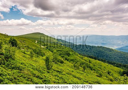 Green Grassy Slope Of Runa Mountain Ridge