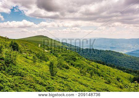 Green Grassy Slope Of Runa Mountain Ridge