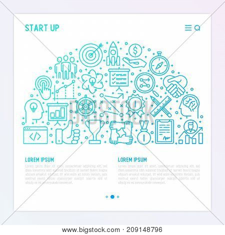 Start up concept in half circle with thin line icons of development, growth, success, idea, investment. Vector illustration for banner, web page, print media with place for text.