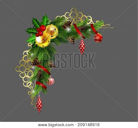 Christmas corner decoration with evergreen treess golden forging and poinsettia with two golden jingle bells isolated vector