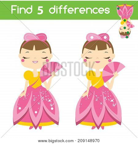 Find the differences educational children game with answer. Kids activity sheet with beautiful princess character