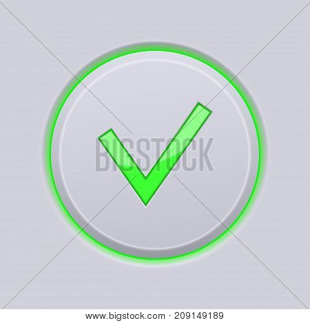 Submit button. Green check icon on gray plastic background. Vector 3d illustration