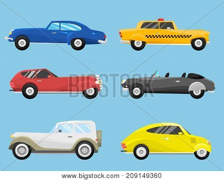 Retro vintage old style car vehicle automobile exclusive speed sport transport antique garage classic auto vector illustration. Machine engine model automotive race.