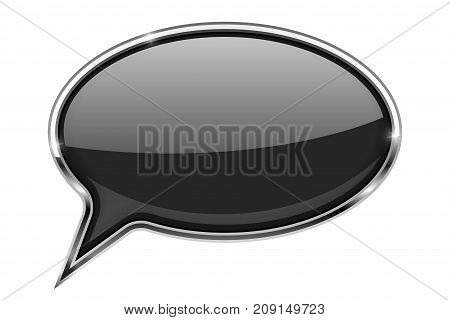 Black speech bubble. Round 3d icon with chrome frame. Vector illustration isolated on white background