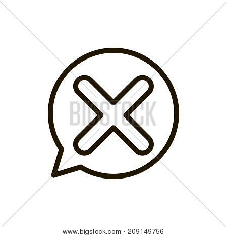 X mark icon flat icon. Single high quality outline symbol of info for web design or mobile app. Thin line signs of delete for design logo, visit card, etc. Outline logo of close