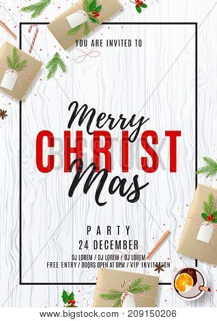 Merry Christmas Party Poster. Top view on Festive Decoration. Holiday Composition with Paper Gift Boxes on Wooden Texture. Greeting Card with Lettering. Invitation to nightclub. Vector Illustration.