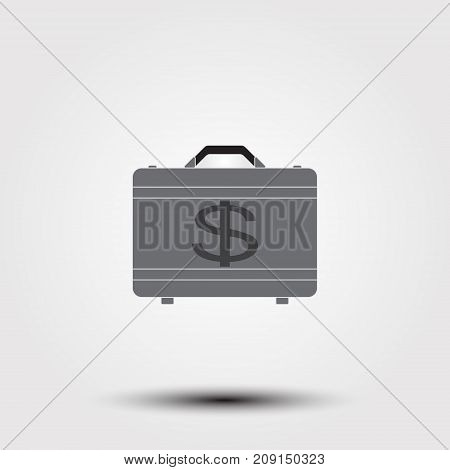 Briefcase Full Of Money Icon. Simple Illustration Of Briefcase Full Of Money Vector Icon For Web.