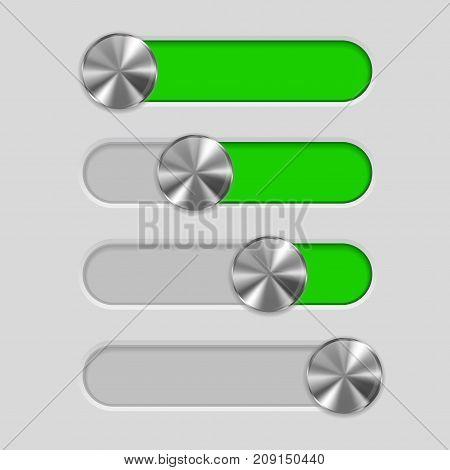 User interface slider. Metal button on green bar. Vector illustration