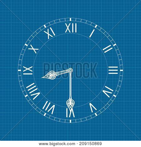 Clock with roman numerals. Vector illustration on blueprint background