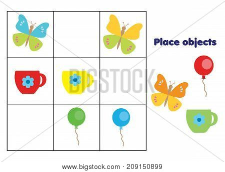 Place objects on right places. Educational children game. Logic Kids activity sheet.