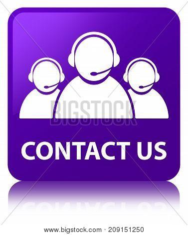 Contact Us (customer Care Team Icon) Purple Square Button