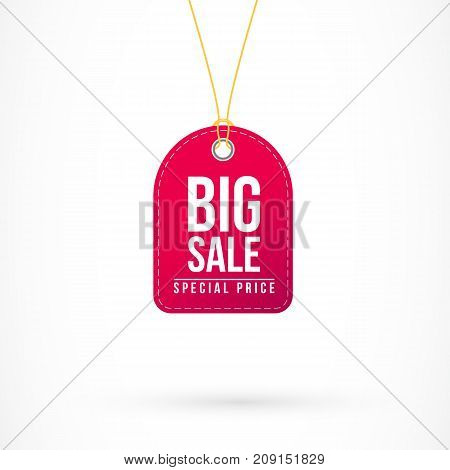 Illustration of red tag with big sale and special price inscription. Sale, discount and retail concept. Design element for banners, posters, leaflets and brochures.