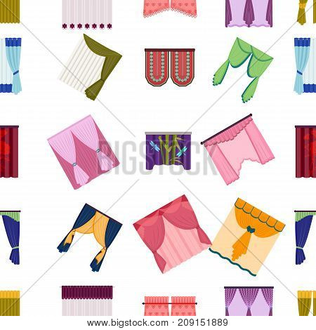 Curtains, lambrequins, cornice and other  icon in cartoon style. Furniture, textiles, window icons in set collection.