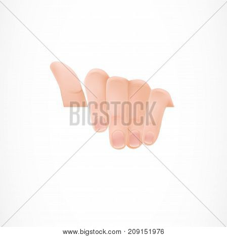 Illustration of human hand holding sheet of white paper. Nails, fingers, wrist. Design element for posters, leaflets and brochures.