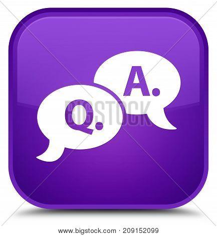 Question Answer Bubble Icon Special Purple Square Button