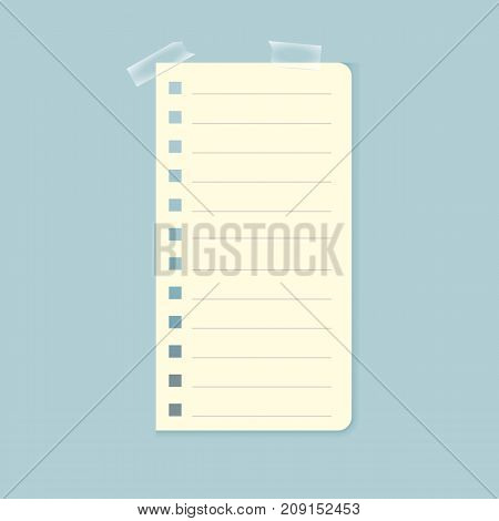 Illustration of white notebook sheet attached with sticky tape on light blue background. Message, notice, reminder. Design element for greeting cards, banners, posters, leaflets and brochures.