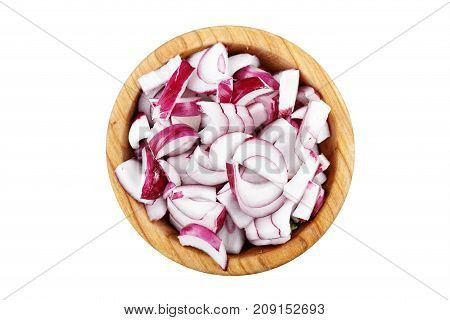chopped purple onion in a plate isolated on a white background