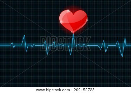 Electrocardiogram. Blue waves with red heart symbol. Vector 3d illustration