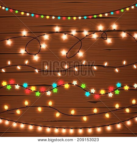 Illustration of six different string lights on wooden wall. New Year, Christmas, holiday. Celebration concept. Design element for greeting cards, posters, leaflets and brochures.