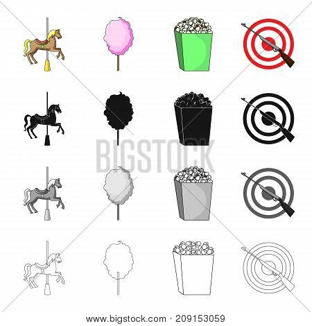 Attraction carousel, sweet cotton wool, popcorn, entertainment shooting range. Amusement park set collection icons in cartoon black monochrome outline style vector symbol stock isometric illustration .