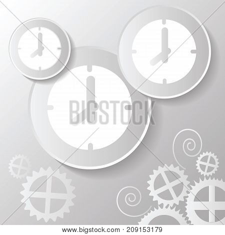abstract paper clock icon pattern on grey gradient background