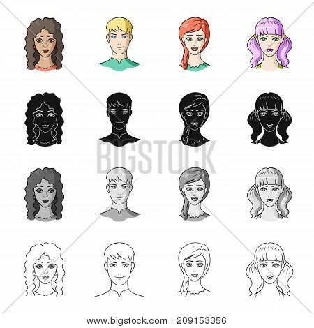 Girl, brown hair, and other  icon in cartoon style.Salonhygiene, clipping, coiffure icons in set collection.
