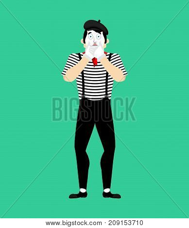 Mime Omg. Fear Pantomime. Dread Mimic. Vector Illustration