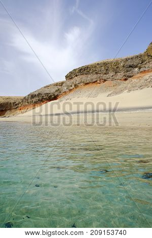 Viw on the beach Playa las Coloradas in Morro Jable on the Canary Island Fuerteventura Spain.