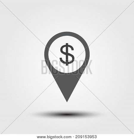Bank atm location icon. Drop shadow map pointer silhouette symbol. Dollar sign pinpoint. Money exchange nearby. Vector isolated illustration