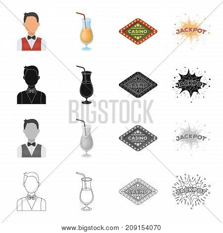 The dealer in the casino, a glass with a drink, a casino sign, a jackpot. Casino set collection icons in cartoon black monochrome outline style vector symbol stock illustration .