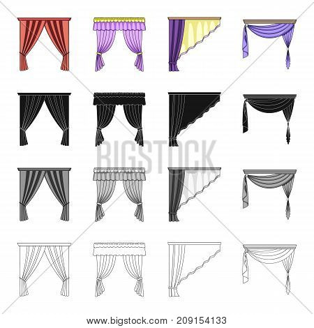 Design, frills, textiles and other  icon in cartoon style.Curtains, lambrequins, ralets, icons in set collection