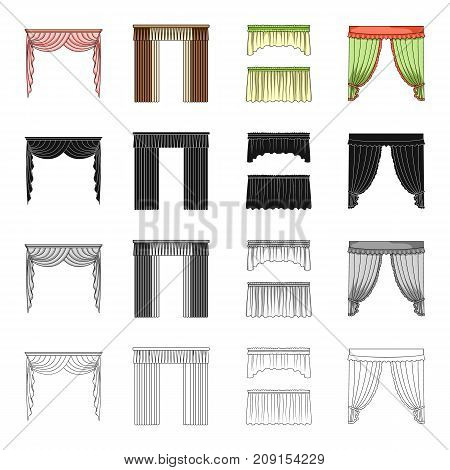 Curtains, lambrequins, ralets, and other  icon in cartoon style.Design, frills, textiles icons in set collection