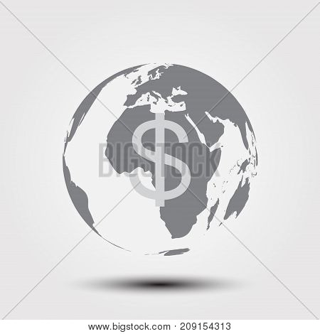 World with coin line icon. Vector illustration.