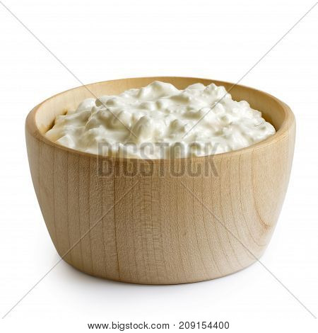 Wooden Bowl Of Chunky Cottage Cheese Isolated On White.