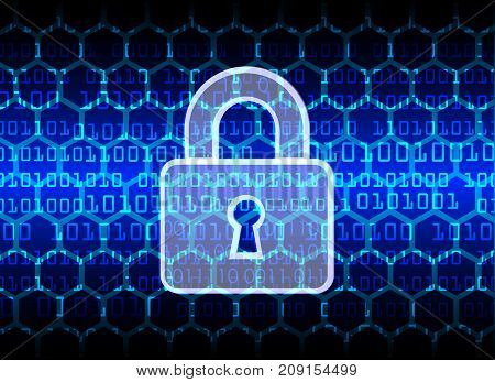 Cyber Security Data Protection Business Technology Privacy concept key lock and digital technology background abstract technology concept background vector illustration.