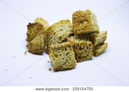 Some homemade rusks isolated on white background