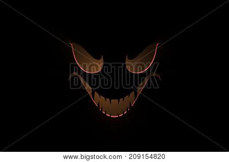 3D illustration of dark monster face with backside light
