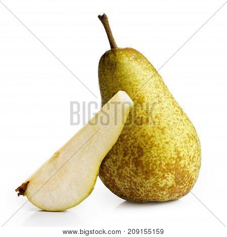 Single abate fetel pear next to a slice of pear isolated on white. poster