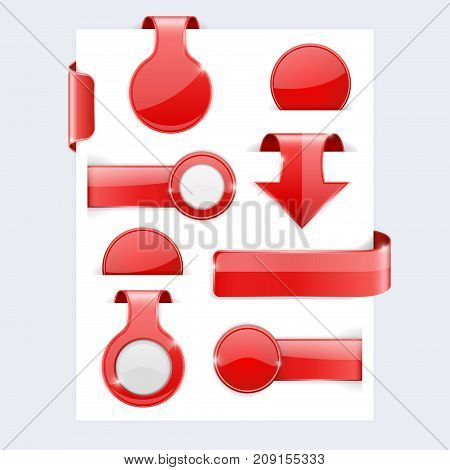 Red shiny 3d labels. Design elements. Vector 3d illustration isolated on white background